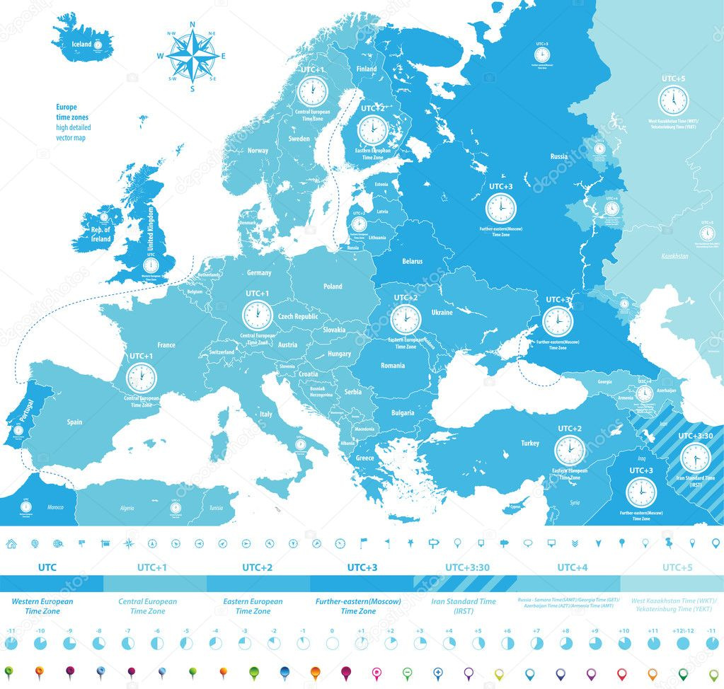 Europe time zones high detailed map with location and clock ...