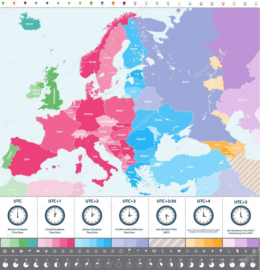 Europe Time Zones High Detailed Map With Location And Clock Icons