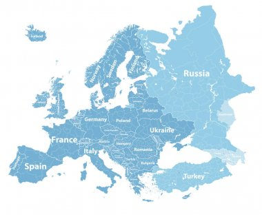 Europe vector high detailed political map with regions borders