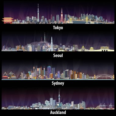 abstract vector illustrations of Tokyo, Seoul, Sydney and Auckland skylines at night