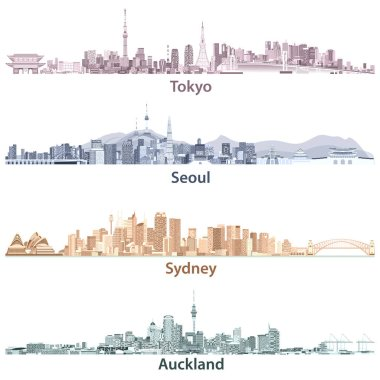 vector illustrations of Tokyo, Seoul, Sydney and Auckland skylines