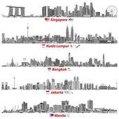 Fotografia astratto immagini vettoriali di skyline di Singapore, Kuala Lumpur, Bangkok, Giacarta e Manila a notte (con bandierine e programmi dei loro paesi) nella tavolozza dei colori bianco e nero