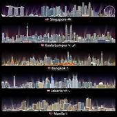 Fotografia illustrazioni di Singapore, Kuala Lumpur, Bangkok, Giacarta e skylines Manila di vettore di notte con mappe e bandiere di paesi in cui queste città capitali