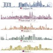 Fotografia astratto immagini vettoriali di skyline di Singapore, Kuala Lumpur, Bangkok, Giacarta e Manila (con mappe e bandiere di paesi in cui queste città sono capitali) in diverse tavolozze dei colori
