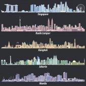 Fotografia astratto immagini vettoriali di skyline di Singapore, Kuala Lumpur, Bangkok, Giacarta e Manila di notte in tavolozze di colori differenti su priorità bassa nera morbida
