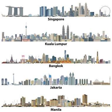 vector illustrations of asian cities(Singapore, Kuala Lumpur, Bangkok, Jakarta and Manila) skylines