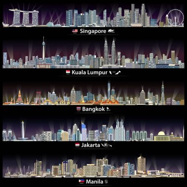 vector illustrations of Singapore, Kuala Lumpur, Bangkok, Jakarta and Manila skylines at night with maps and flags of the countries where these cities are capitals
