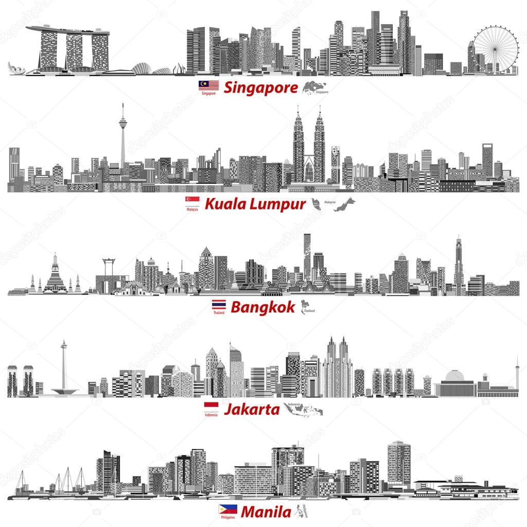 abstract vector illustrations of Singapore, Kuala Lumpur, Bangkok, Jakarta and Manila skylines at night (with flags and maps of their countries) in black and white color palette