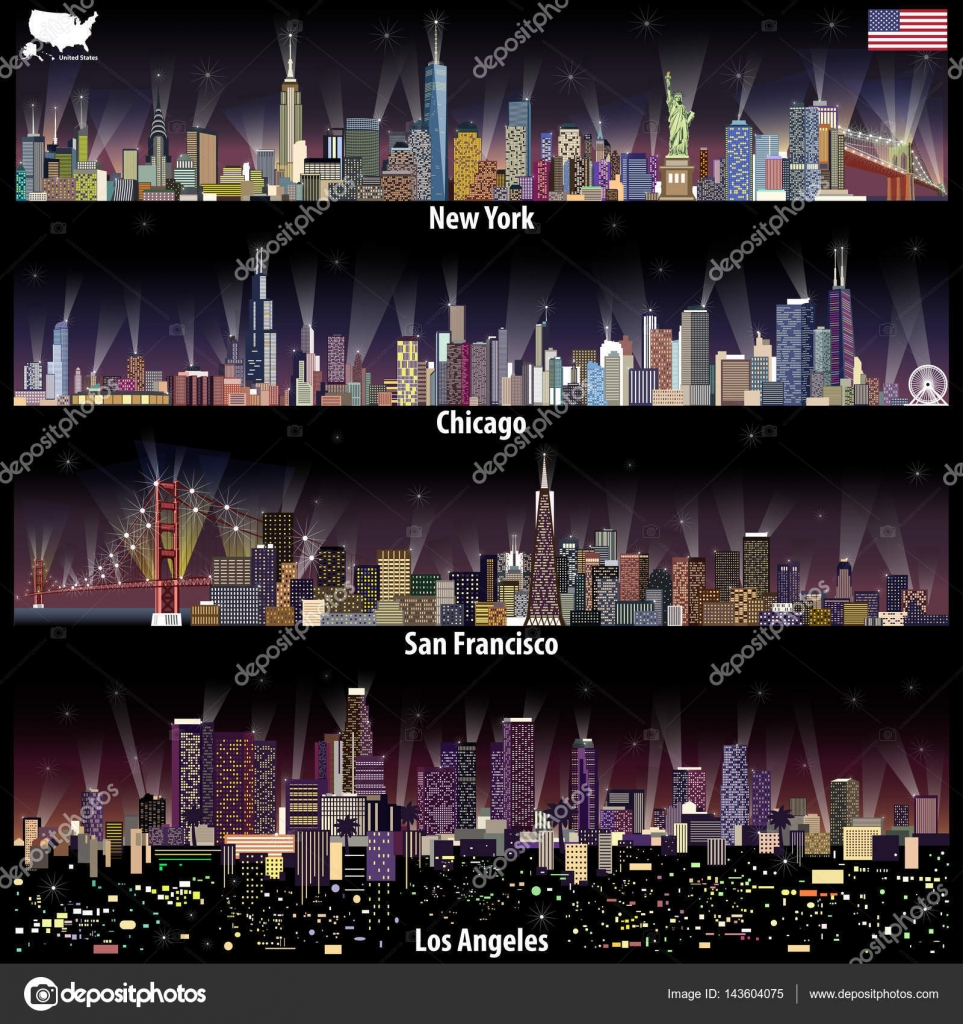 Abstract Vector Illustrations Of United States City Skylines New - Chicago map new york