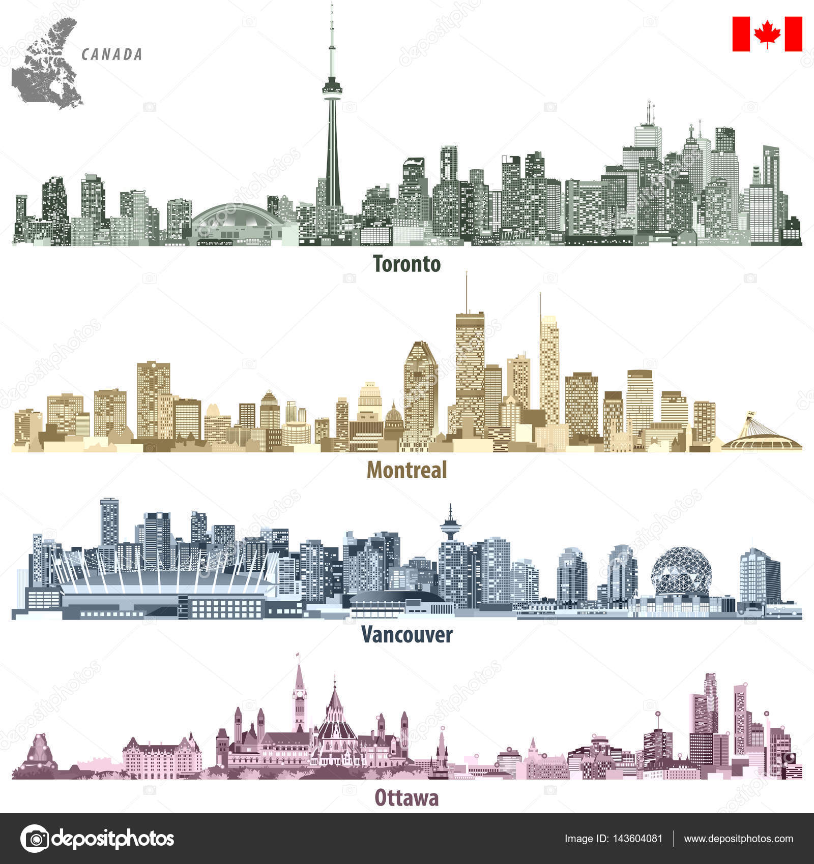 Map Of Canada Vancouver Toronto.Vector Illustrations Of Canadian Cities Toronto Montreal Vancouver