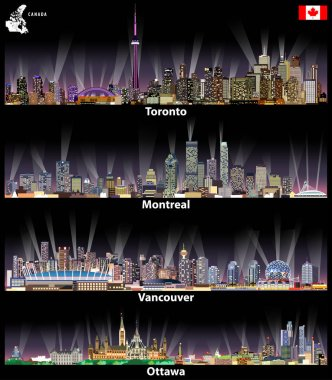 vector illustrations of Canadian cities Toronto, Montreal, Vancouver and Ottawa abstract skylines at night with map and flag of Canada