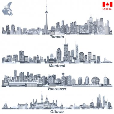 vector illustrations of Canadian cities Toronto, Montreal, Vancouver and Ottawa skylines in tints of blue color palette with map and flag of Canada