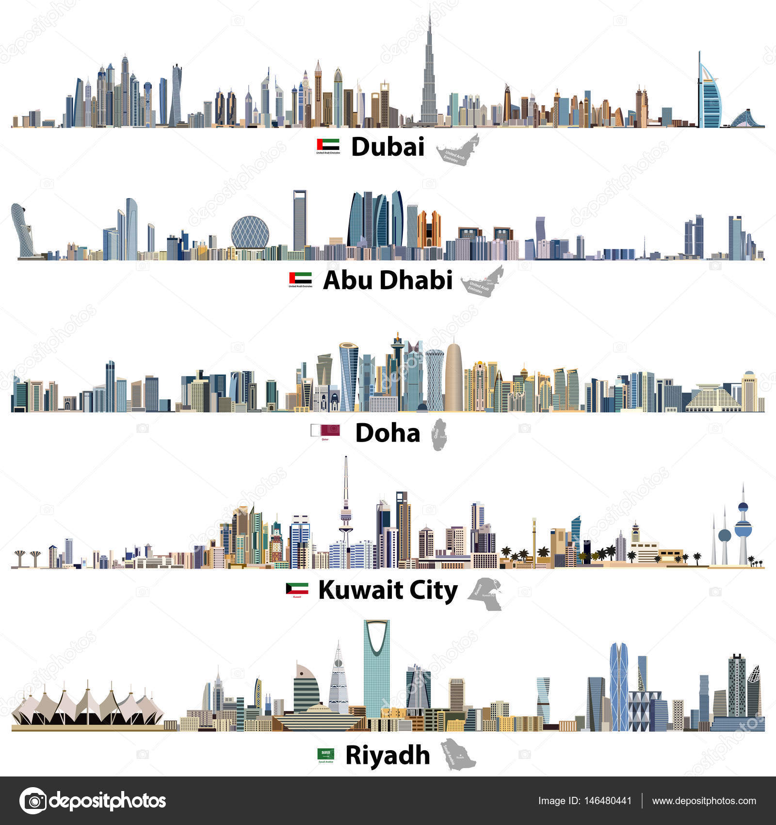 vector illustrations of Dubai, Abu Dhabi, Doha, Riyadh and Kuwait ...