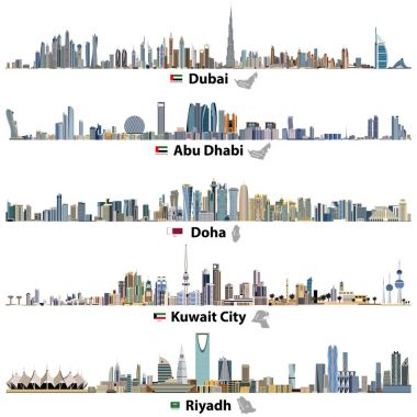 vector illustrations of Dubai, Abu Dhabi, Doha, Riyadh and Kuwait city skylines with flags and maps of United Arab Emirates, Qatar, Kuwait and Saudi Arabia