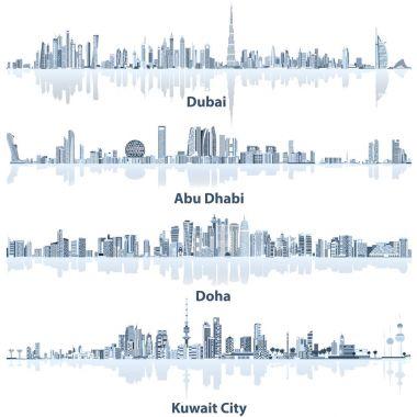 abstract vector illustrations of Dubai, Abu Dhabi, Doha and Kuwait city skylines
