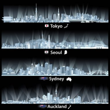 abstract vector illustrations of Tokyo, Seoul, Sydney and Auckland skylines at night in soft blue palette with flags and maps of Japan, South Korea, Australia and New Zealand