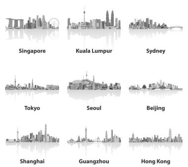 abstract vector illustrations of Singapore, Kuala Lumpur, Sydney, Tokyo, Seoul, Beijing, Shanghai, Guangzhou and Hong Kong skylines in grey scales color palette