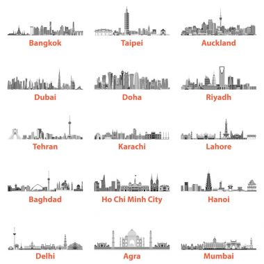 abstract vector illustrations of asian city skylines