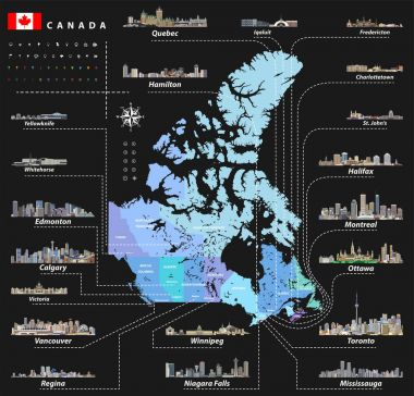map of provinces and territories of Canada with largest cities and all states capitals skylines