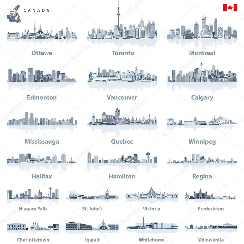 Canadian largest cities and all states capitals skylines in tints of blue color palette with water reflections;