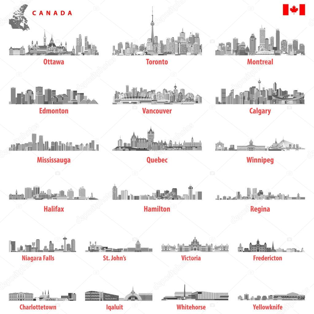 vector illustration of Canadian city skylines in black and white tints color palette