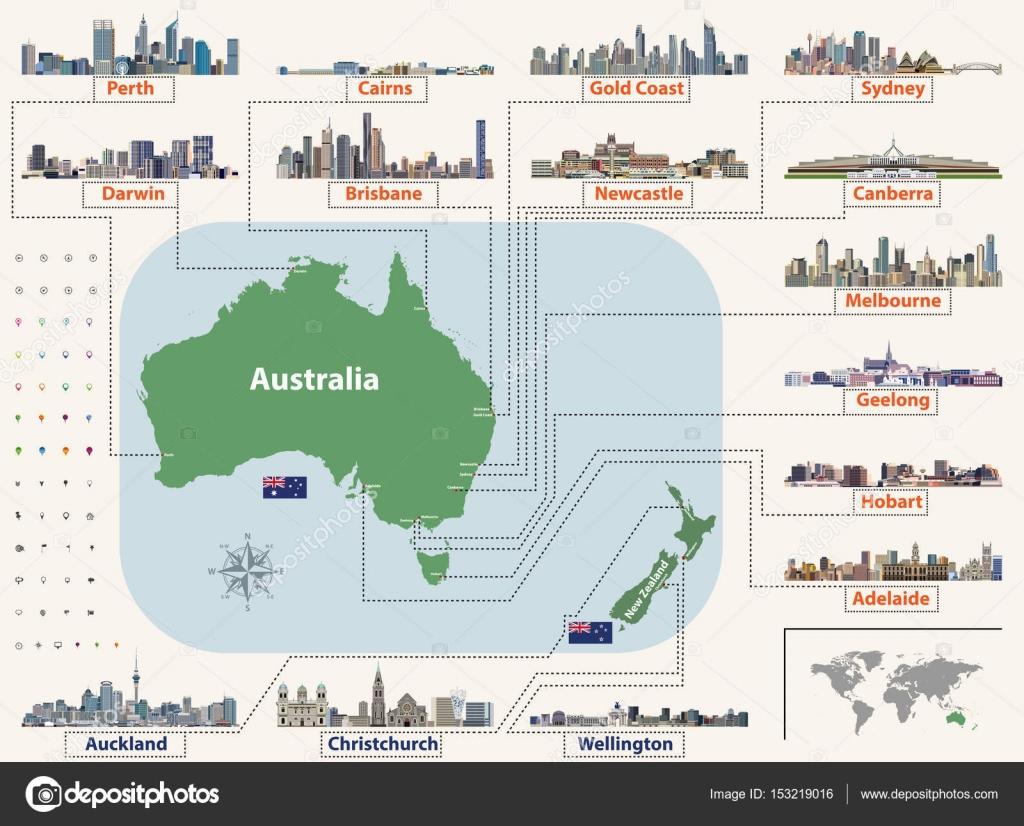 Mapa De Localização De Pontos De Vetor Localização De: Vetor Mapa (e Sinalizadores) Da Austrália E Nova