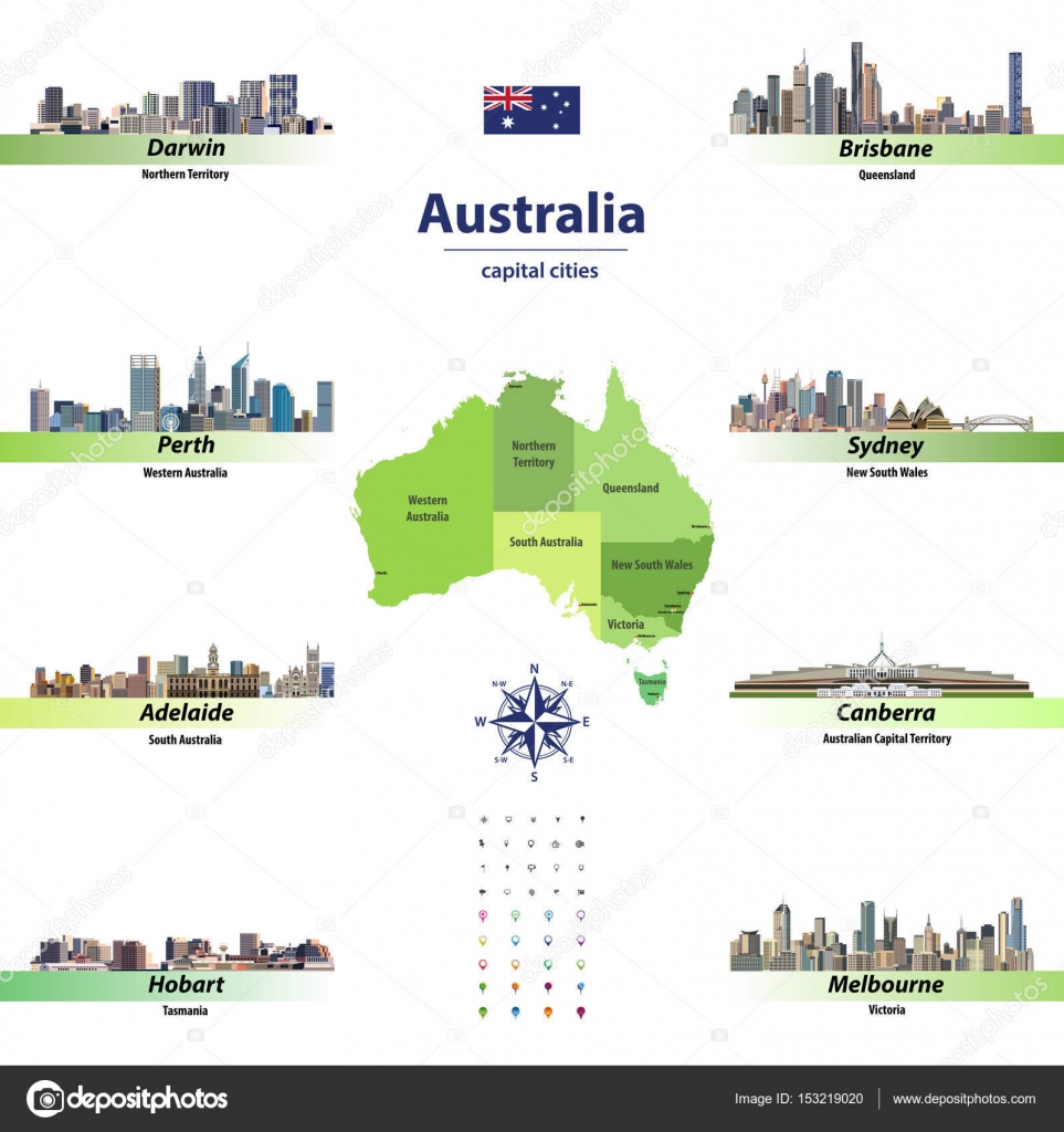 vector illustration of australia states map with skylines of capital cities stock vector