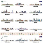 Photo vector illustration of Australian and New Zealand city skylines. Map and flag of Australia and New Zealand. Navigation, location and travel icons.