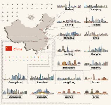 vector map of China with largest chinese city skylines. Navigation, location and travel icons