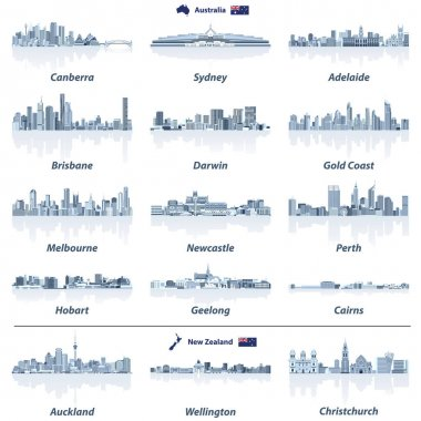 vector illustration of Australian and New Zealand skylines with water reflections in tints of blue color palette. Map and flag of Australia and New Zealand.