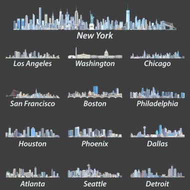 United States largest cities skylines in tints of blue color palette. Vector illustration
