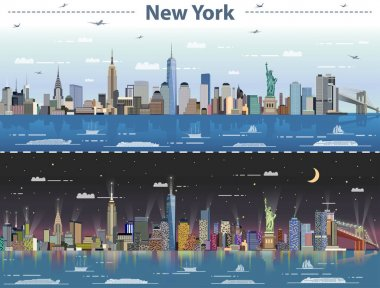 vector abstract illustration of New York at day and night