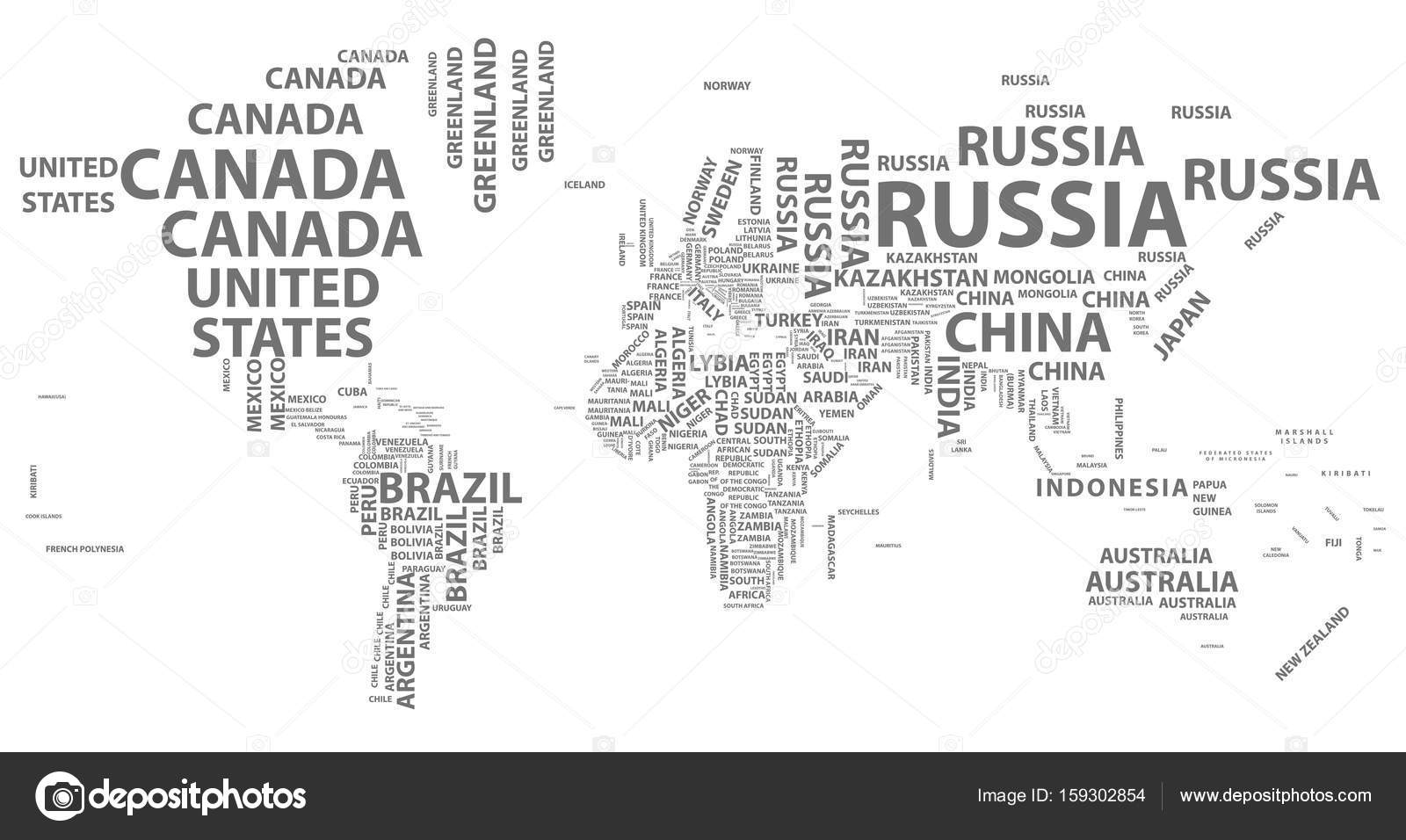 Vector world map with country names in typography stock vector vector world map with country names in typography stock vector gumiabroncs Image collections