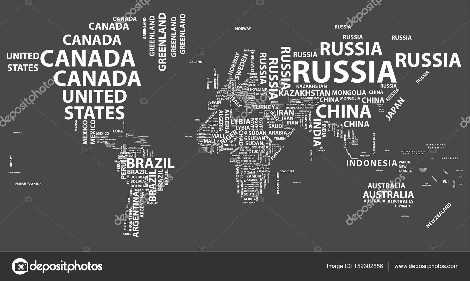 Vector world map with country names in typography stock vector vector world map with country names in typography stock vector gumiabroncs Choice Image
