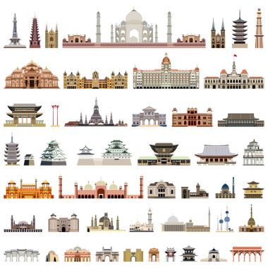 collection of isolated vector temples, towers, cathedrals, pagodas, mausoleums. ancient buildings and other architectural monuments