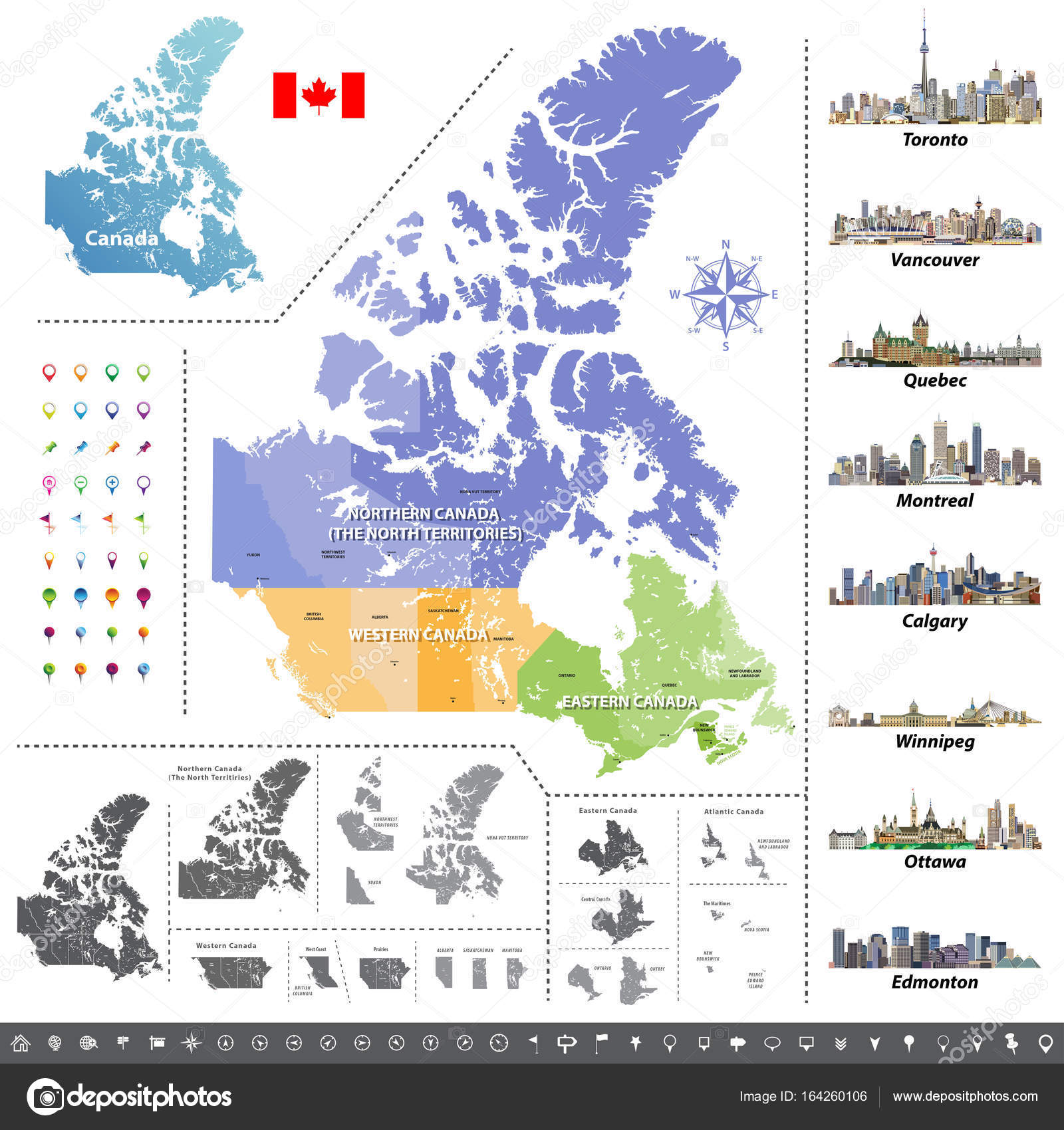 City Map Of Canada.Canadian Provinces And Territories Map Colored By Regions Map Flag