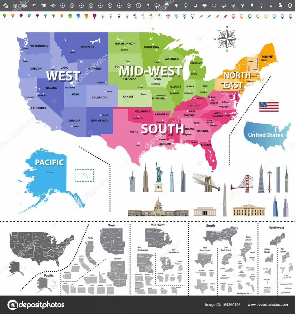 united states of america map colored by regions navigation location icons flag and