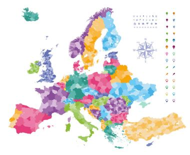 Europe map colored by countries with regions borders.  Navigation, location and travel icons collection.