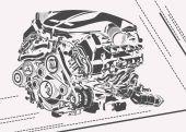 Fotografie vektorové vysoce detailní ilustrace abstraktní motoru