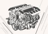 vektorové vysoce detailní ilustrace abstraktní motoru