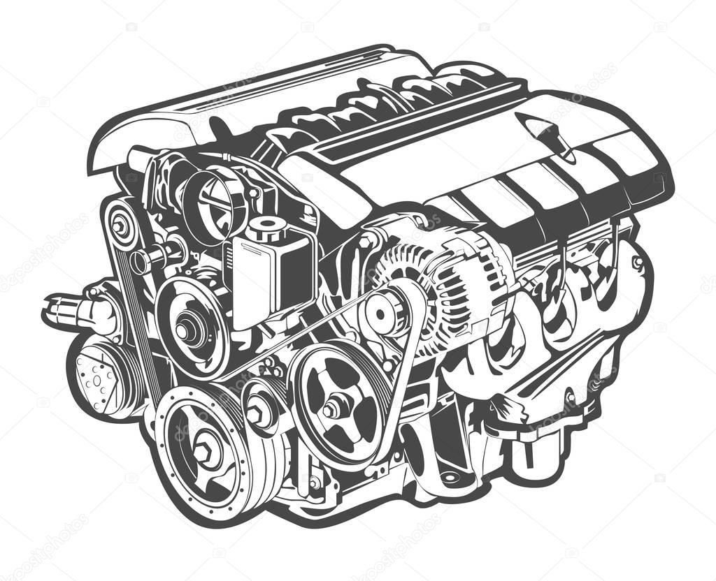 vector high detailed illustration of abstract engine