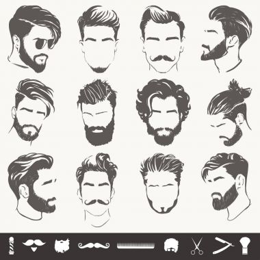 vector set of abstract men hairstyle silhouettes