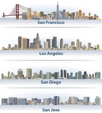 vector collection of United States city skylines: San Francisco, Los Angeles, San Diego and San Jose