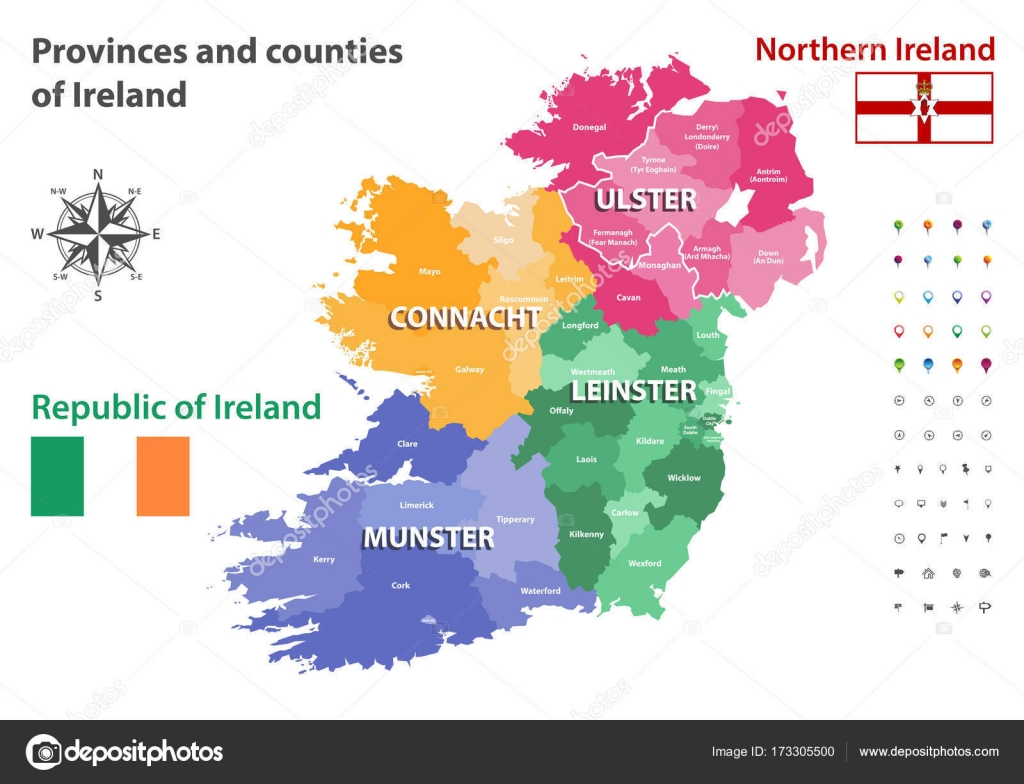 Map Of Ireland And Counties.Provinces And Counties Of Ireland Vector Map Stock Vector