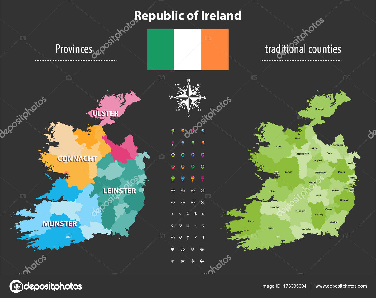 Map Of Ireland With Counties And Provinces.Republic Of Ireland Provinces And Traditional Counties Vector Map