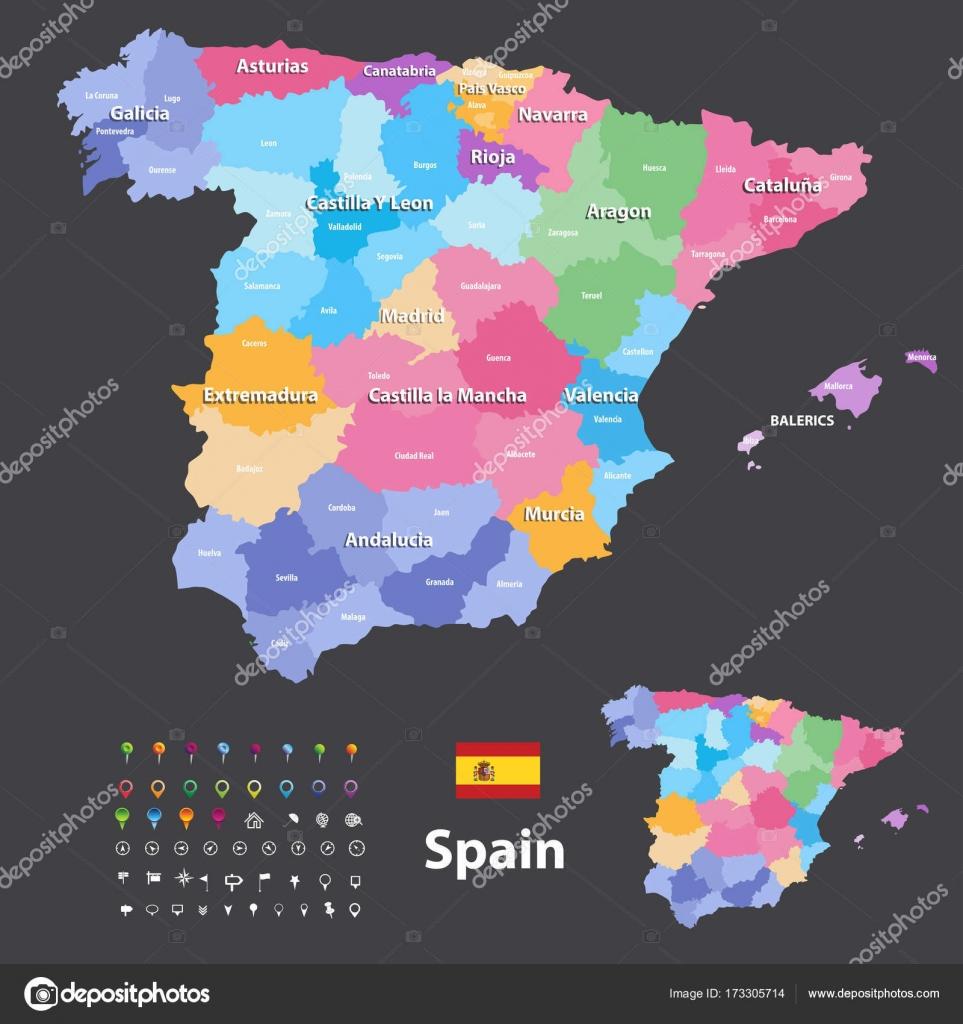Spanien Regionen Karte.Autonomen Regionen Und Provinzen Vektor Karte Von Spanien