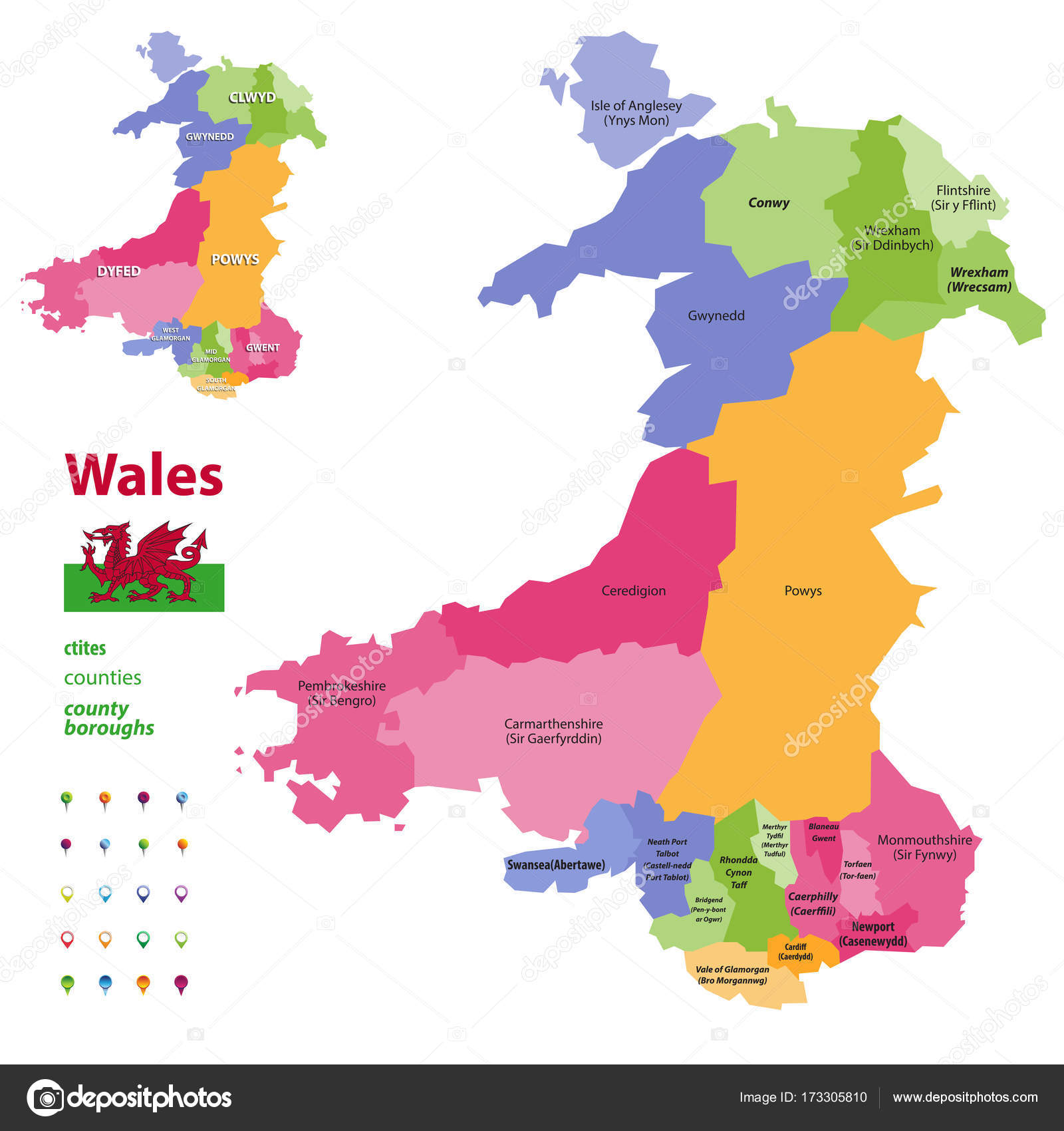 Preserved Counties Of Wales Vector Administrative Map With - Welsh language map