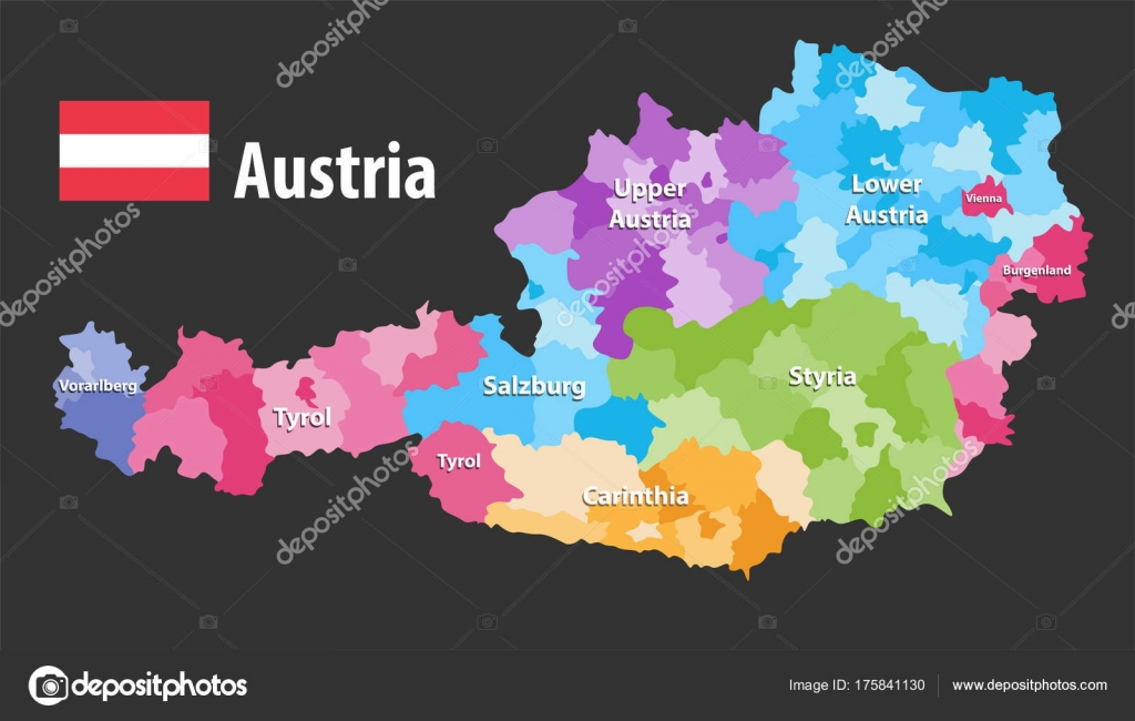 Vector map austria states districts flag austria each state have vector map austria states districts flag austria each state have stock vector gumiabroncs Image collections