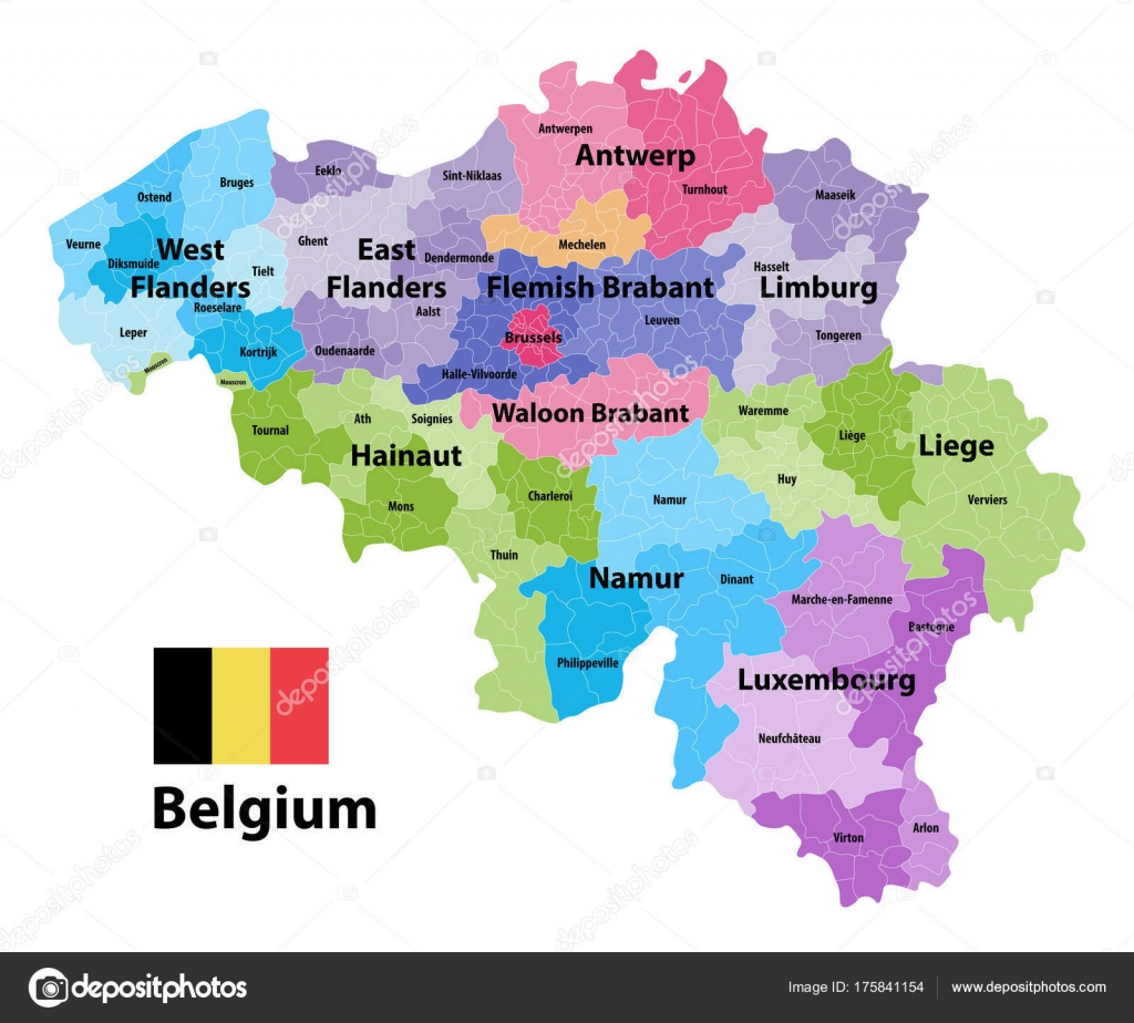 Belgium Vector Map Showing Provinces Administrative Subdivisions