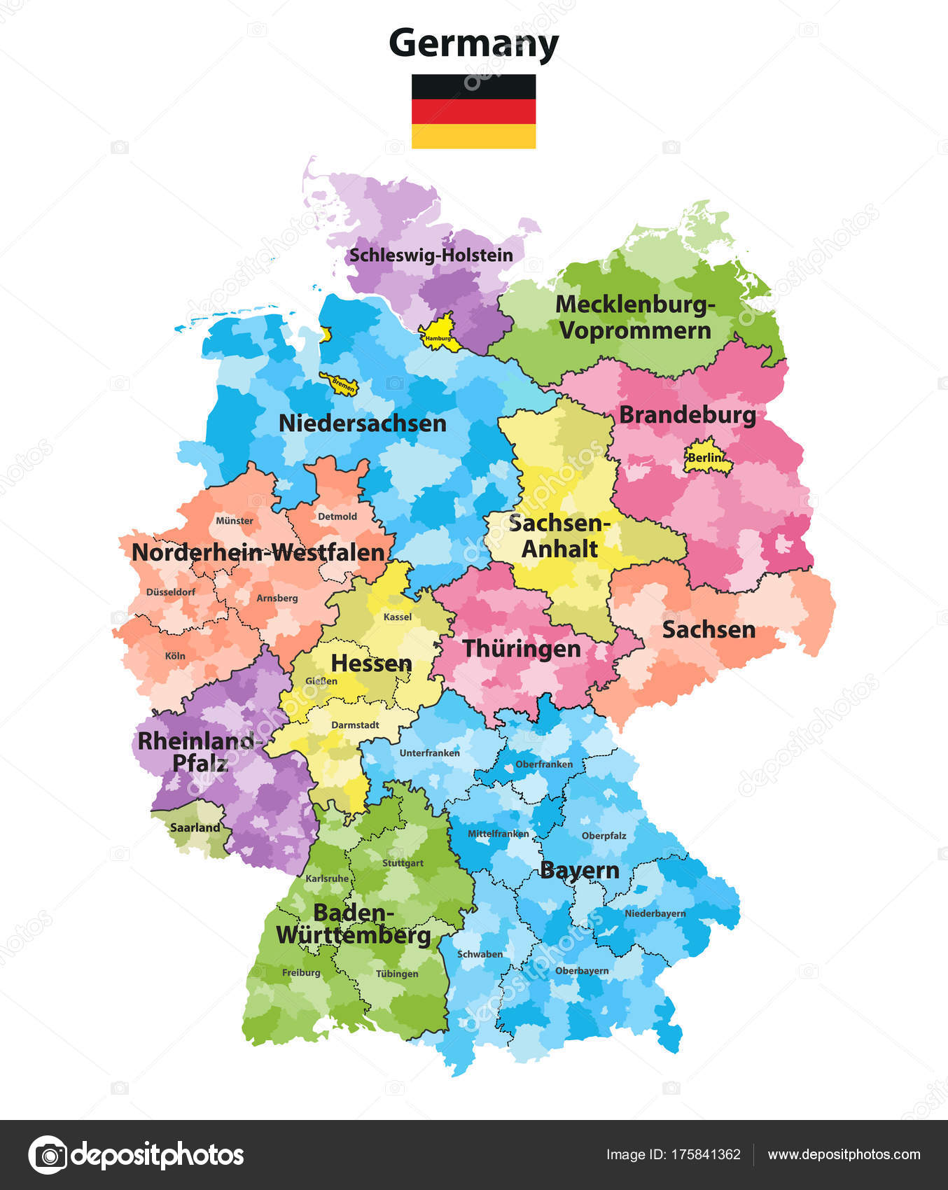 Germany Map States.Germany States Districts Colored Vector Map Stock Vector C Jktu 21